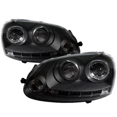 Headlights & Tail Lights - Headlights - Spyder Auto - Volkswagen Jetta Spyder Halo LED Projector Headlights - Black - 444-VP01-DRL-BK