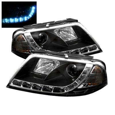 Headlights & Tail Lights - Headlights - Spyder - Volkswagen Passat Spyder Projector Headlights - DRL LED - Black - 444-VP01-DRL-BK