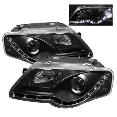 Headlights & Tail Lights - Headlights - Spyder - Volkswagen Passat Spyder Projector Headlights - DRL LED - Black - 444-VP06-DRL-BK