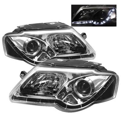 Headlights & Tail Lights - Headlights - Spyder - Volkswagen Passat Spyder Projector Headlights - DRL LED - Chrome - 444-VP06-DRL-C
