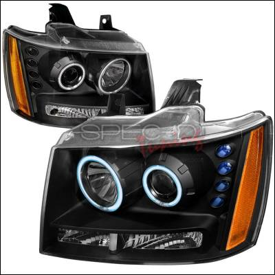 Headlights & Tail Lights - Headlights - Spec-D - Chevrolet Avalanche Spec-D CCFL Halo Projector Headlights - Black - 4LHP-AVA07JM-KS