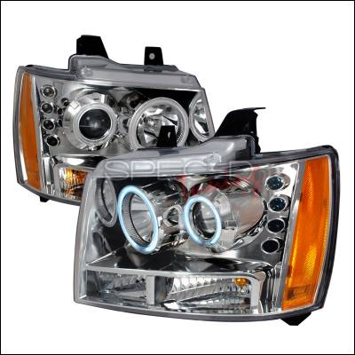 Headlights & Tail Lights - Headlights - Spec-D - Chevrolet Avalanche Spec-D CCFL Halo Projector Headlights - Chrome - 4LHP-AVA07-KS