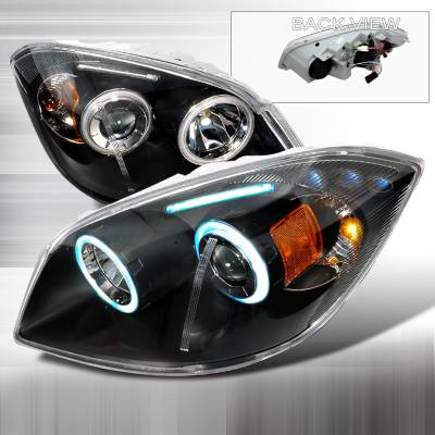 Headlights & Tail Lights - Headlights - Spec-D - Chevrolet Cobalt Spec-D CCFL Halo Projector Headlights - Black - 4LHP-COB05JM-KS