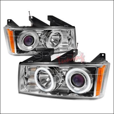 Headlights & Tail Lights - Headlights - Spec-D - GMC Canyon Spec-D CCFL Halo Projector Headlights - Chrome - 4LHP-COL04B-KS