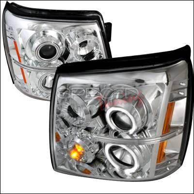 Headlights & Tail Lights - Headlights - Spec-D - Cadillac Escalade Spec-D CCFL Halo Projector Headlights - Chrome - 4LHP-ECLD02-KS