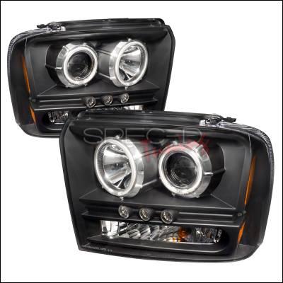 Headlights & Tail Lights - Headlights - Spec-D - Ford F250 Spec-D CCFL Halo Projector Headlights - Black - 4LHP-F25005JM-KS