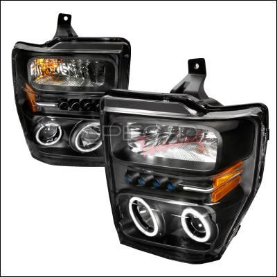 Headlights & Tail Lights - Headlights - Spec-D - Ford F350 Spec-D CCFL Halo Projector Headlights - Black - 4LHP-F25008JM-KS