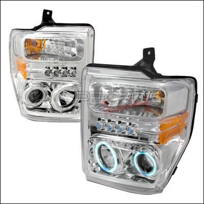 Headlights & Tail Lights - Headlights - Spec-D - Ford F350 Spec-D CCFL Halo Projector Headlights - Chrome - 4LHP-F25008-KS