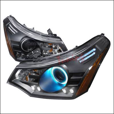 Headlights & Tail Lights - Headlights - Spec-D - Ford Focus Spec-D CCFL Halo Projector Headlights - Black - 4LHP-FOC08JM-KS