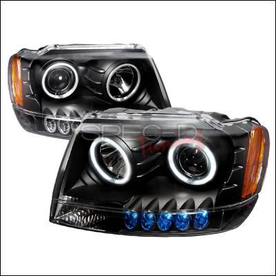 Headlights & Tail Lights - Headlights - Spec-D - Jeep Grand Cherokee Spec-D CCFL Halo Projector Headlights - Black - 4LHP-GKEE99JM-KS