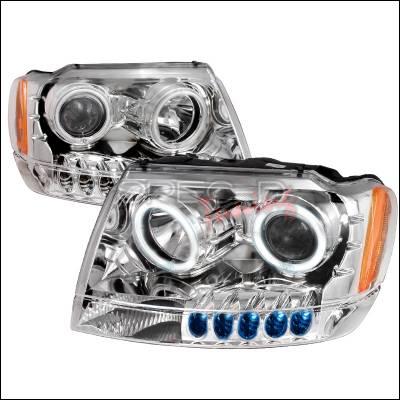 Headlights & Tail Lights - Headlights - Spec-D - Jeep Grand Cherokee Spec-D CCFL Halo Projector Headlights - Chrome - 4LHP-GKEE99-KS