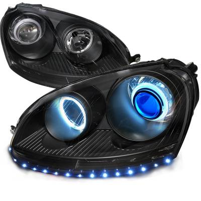 Headlights & Tail Lights - Headlights - Spec-D - Volkswagen Golf Spec-D CCFL Projector Headlight - 4LHP-GLF05JM-8B-SD