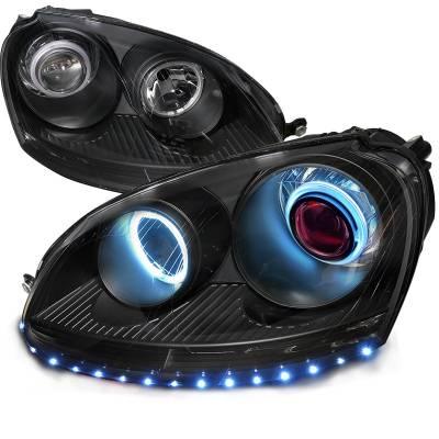 Headlights & Tail Lights - Headlights - Spec-D - Volkswagen Golf Spec-D CCFL Projector Headlight - 4LHP-GLF05JM-8R-SD