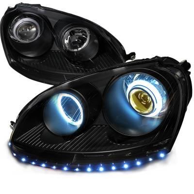 Headlights & Tail Lights - Headlights - Spec-D - Volkswagen Golf Spec-D CCFL Projector Headlight - 4LHP-GLF05JM-8Y-SD