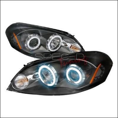 Headlights & Tail Lights - Headlights - Spec-D - Chevrolet Impala Spec-D CCFL Halo Projector Headlights - Black - 4LHP-IPA06JM-KS