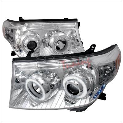Headlights & Tail Lights - Headlights - Spec-D - Toyota Land Cruiser Spec-D CCFL Halo Projector Headlights - Chrome - 4LHP-LCR08-KS