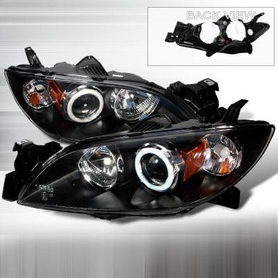 Headlights & Tail Lights - Headlights - Spec-D - Mazda 3 Spec-D CCFL Halo Projector Headlights - Black - 4LHP-MZ3044JM-KS