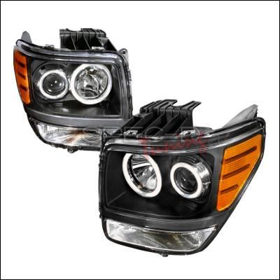 Headlights & Tail Lights - Headlights - Spec-D - Dodge Nitro Spec-D CCFL Halo Projector Headlights - Black - 4LHP-NIT07JM-KS