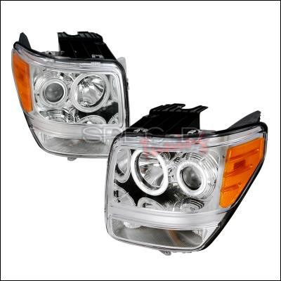 Headlights & Tail Lights - Headlights - Spec-D - Dodge Nitro Spec-D CCFL Halo Projector Headlights - Chrome - 4LHP-NIT07-KS