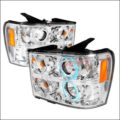 Headlights & Tail Lights - Headlights - Spec-D - GMC Sierra Spec-D CCFL Halo Projector Headlights - Chrome - 4LHP-SIE07-KS