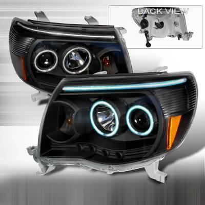 Headlights & Tail Lights - Headlights - Spec-D - Toyota Tacoma Spec-D CCFL Halo Projector Headlights - Black - 4LHP-TAC06JM-KS