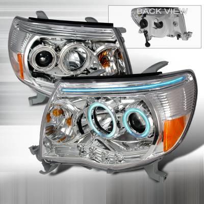 Headlights & Tail Lights - Headlights - Spec-D - Toyota Tacoma Spec-D CCFL Halo Projector Headlights - Chrome - 4LHP-TAC06-KS