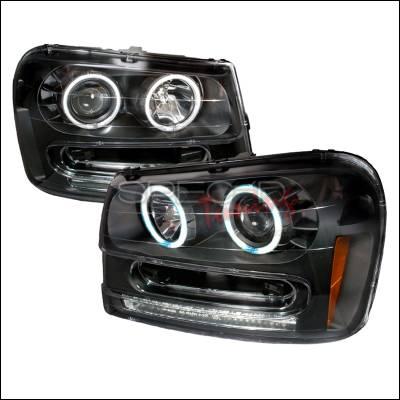 Headlights & Tail Lights - Headlights - Spec-D - Chevrolet Trail Blazer Spec-D CCFL Halo Projector Headlights - Black - 4LHP-TBLZ02JM-KS