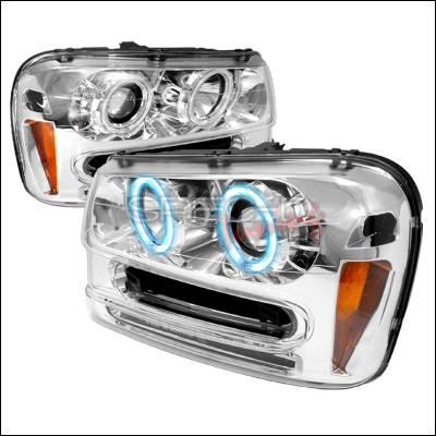 Headlights & Tail Lights - Headlights - Spec-D - Chevrolet Trail Blazer Spec-D CCFL Halo Projector Headlights - Chrome - 4LHP-TBLZ02-KS