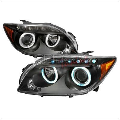 Headlights & Tail Lights - Headlights - Spec-D - Scion tC Spec-D CCFL Halo Projector Headlights - Black - 4LHP-TC05JM-KS