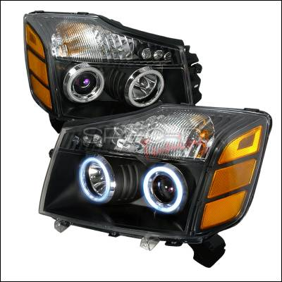 Headlights & Tail Lights - Headlights - Spec-D - Nissan Titan Spec-D CCFL Halo Projector Headlights - Black - 4LHP-TIT04JM-KS