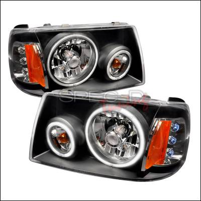 Headlights & Tail Lights - Headlights - Spec-D - Ford Ranger Spec-D CCFL Halo Euro Headlights - Black - 4LH-RAN01JM-KS