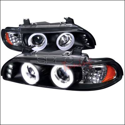 Headlights & Tail Lights - Headlights - Spec-D - BMW 5 Series Spec-D SMD LED Iced Halo Projector Headlight with Black Housing - 6LHP-E3997JM-TM