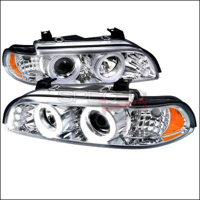 Headlights & Tail Lights - Headlights - Spec-D - BMW 5 Series Spec-D SMD LED Iced Halo Projector Headlight with Chrome Housing - 6LHP-E3997-TM
