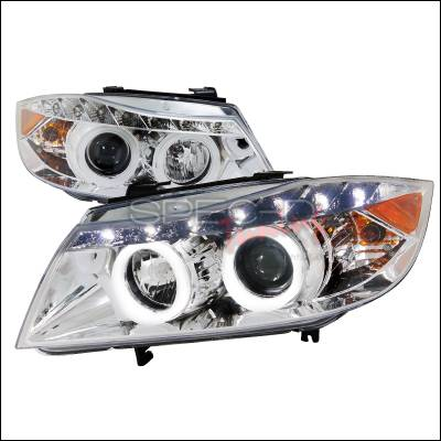 Headlights & Tail Lights - Headlights - Spec-D - BMW 3 Series Spec-D SMD LED Iced Halo Projector Headlights - Chrome Housing - 6LHP-E9005-8-TM