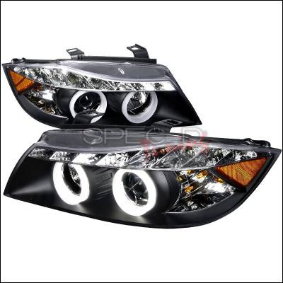 Headlights & Tail Lights - Headlights - Spec-D - BMW 3 Series Spec-D SMD LED Iced Halo Projector Headlight with Black Housing - 6LHP-E9005JM-8-TM