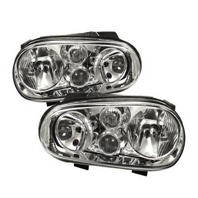 Headlights & Tail Lights - Headlights - Spyder Auto - Volkswagen Golf Spyder Crystal Headlights - Chrome - HD-CH-VGOLF99-C