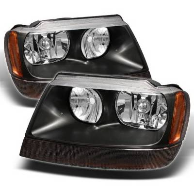 Headlights & Tail Lights - Headlights - Spyder Auto - Jeep Grand Cherokee Spyder Amber Crystal Headlights - Black - HD-CL-JGC99-AM-BK