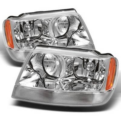 Headlights & Tail Lights - Headlights - Spyder Auto - Jeep Grand Cherokee Spyder Amber Crystal Headlights - Chrome - HD-CL-JGC99-AM-C