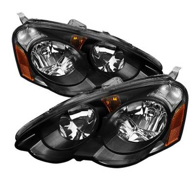 Headlights & Tail Lights - Headlights - Spyder Auto - Acura RSX Spyder Amber Crystal Headlights - Black - HD-JH-ARSX02-AM-BK