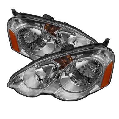 Spyder - Acura RSX Spyder Amber Crystal Headlights - Chrome - HD-JH-ARSX02-AM-C