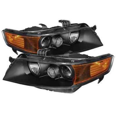 Headlights & Tail Lights - Headlights - Spyder - Acura TSX Spyder Amber Crystal Headlights - Black - HD-JH-ATSX04-AM-BK