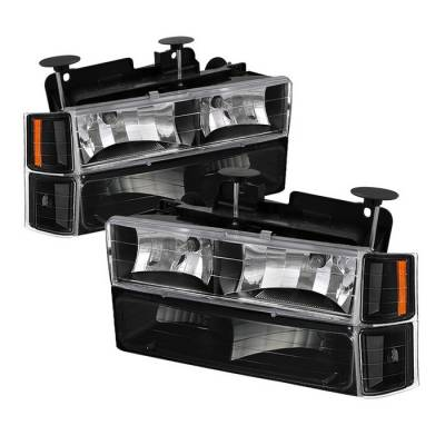 Headlights & Tail Lights - Headlights - Spyder - Chevrolet Suburban Spyder Crystal Headlights with Corner & Bumper - HD-JH-CCK88-AM-BK-SET