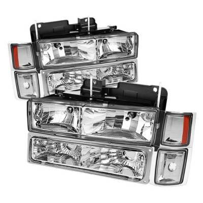 Headlights & Tail Lights - Headlights - Spyder - Chevrolet CK Truck Spyder Crystal Headlights with Corner & Bumper - HD-JH-CCK88-AM-C-SET