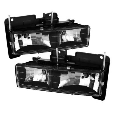 Headlights & Tail Lights - Headlights - Spyder - Chevrolet Suburban Spyder Crystal Headlights - Black - HD-JH-CCK88-BK