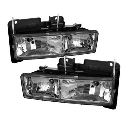 Headlights & Tail Lights - Headlights - Spyder - Chevrolet Suburban Spyder Crystal Headlights - Chrome - HD-JH-CCK88-C