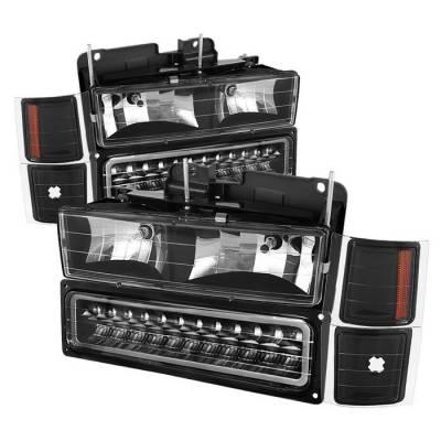 Headlights & Tail Lights - Headlights - Spyder - Chevrolet Blazer Spyder Corner LED Bumper Headlights - Black - HD-JH-CCK88-LED-AM-BK-SET