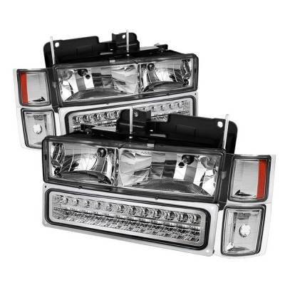 Headlights & Tail Lights - Headlights - Spyder - Chevrolet Suburban Spyder Corner LED Bumper Headlights - Chrome - HD-JH-CCK88-LED-AM-C-SET