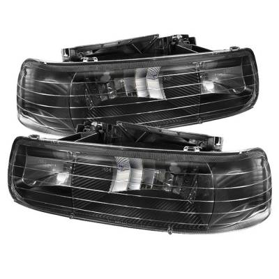Headlights & Tail Lights - Headlights - Spyder - Chevrolet Tahoe Spyder Amber Crystal Headlights - Black - HD-JH-CSIL99-BK