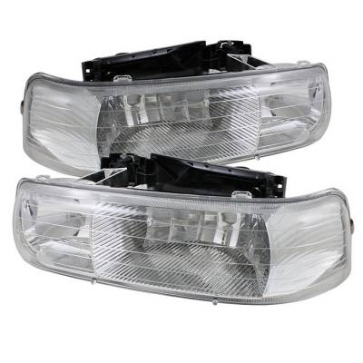 Headlights & Tail Lights - Headlights - Spyder - Chevrolet Tahoe Spyder Amber Crystal Headlights - Chrome - HD-JH-CSIL99-C