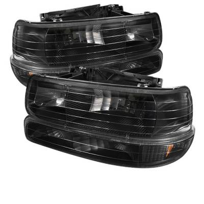 Headlights & Tail Lights - Headlights - Spyder - Chevrolet Suburban Spyder Amber Crystal Headlights with Bumper Lights - Black - HD-JH-CSIL99-SET-AM-BK